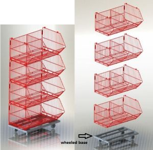 Collapsible Stacking Wire Cage Promotional Basket Rack pictures & photos