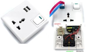 with 2X USB 2.1A Port Outlet Electric Wall Plug Socket Face Plate Power Adapter pictures & photos