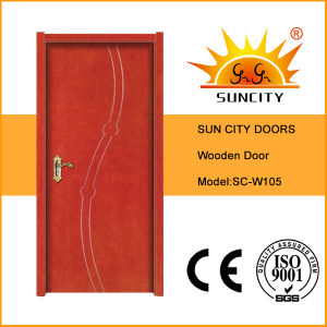 Cheap Interior Hot Designs Plain Carving Painted Wood Door (SC-W105) pictures & photos
