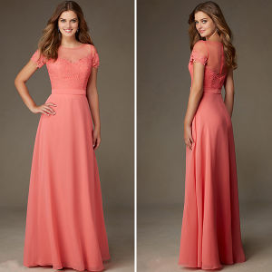 Vintage Lace Satin Chiffon Long Bridesmaid Dresses (TM-BD046)