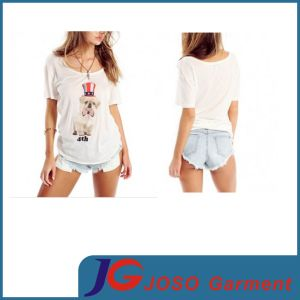 Lady Printing T Shirt Top Loose Comfortable Cotton Clothing (JS9015) pictures & photos