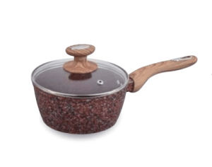 Granite Coated Aluminum Sauce Pan with Wood-Look Handle pictures & photos