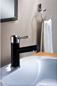 Stainless Steel Solid Casting Bathroom Lavatory Basin Black Color Tap pictures & photos