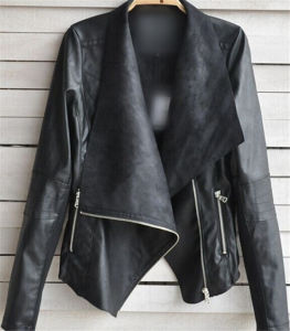 High Quality Hot Sale Winter Women Coat Motorcycle PU Leather Jacket pictures & photos