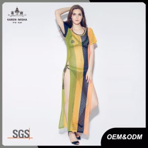 Open Knit Striped Side Slit Cover up Maxi Dress pictures & photos