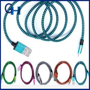 Powerful 1m 2m 3m Smart Phone Nylon Bradided Metal USB Charging Data Cable Flat Electrical Cable pictures & photos
