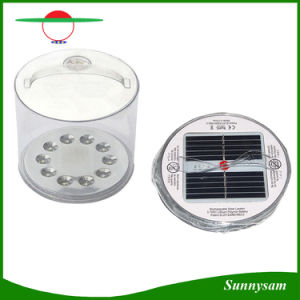 Portable Rechargeable Foldable Solar Camping Lantern 10 LED Inflatable Solar Light with Battery Level Indicator pictures & photos