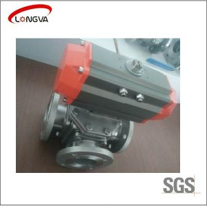 Flange Three-Way Ball Valve with Pneumatic Actuator pictures & photos