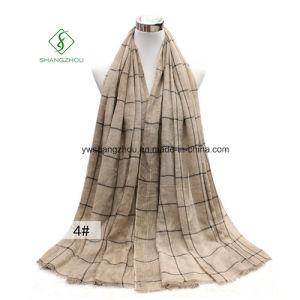 Cotton Literary Style Plaid Tie-Dye Shawl Lady Fashion Scarf pictures & photos