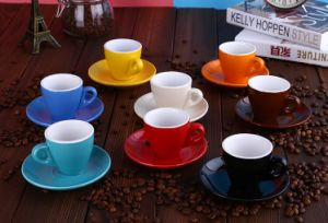 Hot Sale V Shape Ceramic Cup with Decal pictures & photos