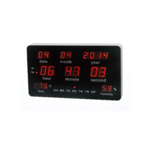 Large Calendar Temperature and Humidity Display LED Digital Wall Clock pictures & photos