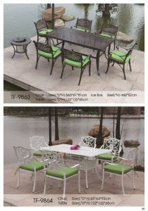 Cast Aluminum 7 Pieces Dining Set with Seat Cushions