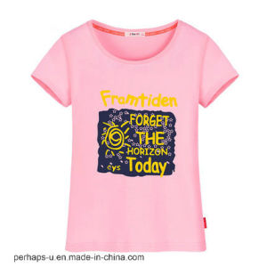 Printing Short Sleeve Round Collar T-Shirt Women Cotton Tee pictures & photos