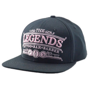 Custom Black Hot Sale Flat Brim Snapback Cap Hat pictures & photos