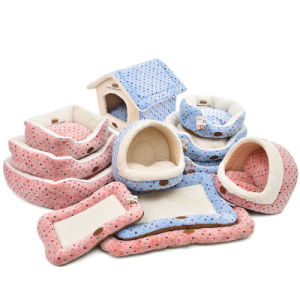Quality Dog Beds Cushion Pads Coral Velvet Dots Pet House pictures & photos