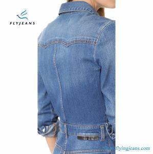 Super Stretch Denim Dresses with Long Sleeves for Women and Lady pictures & photos