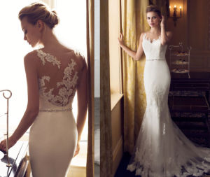 Fit and Flare Illusion Back Bridal Wedding Dress pictures & photos