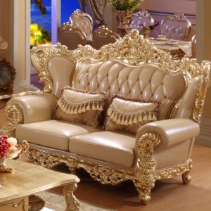 Wood Leather Sofa Set for Home Furniture (525) pictures & photos