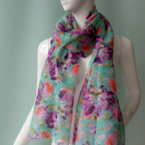 Green Printed Scarf for Women pictures & photos