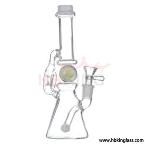 White Jade Rocket and Inline 4 Buttons Perc Glass Water Pipe pictures & photos