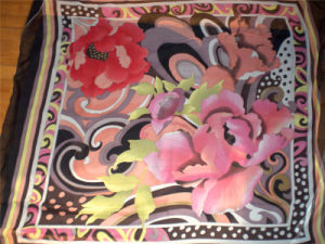 Bright Red Flower Printed Silk Jersey pictures & photos