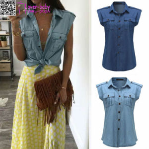 Button up Turndown Collared off Shoulder Sexy Denim Tops L574 pictures & photos