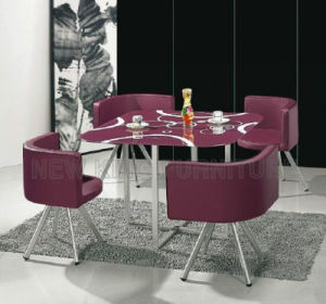 Malaysia Stainless Base Tempered Glass Dining Table (NK-DTB078)