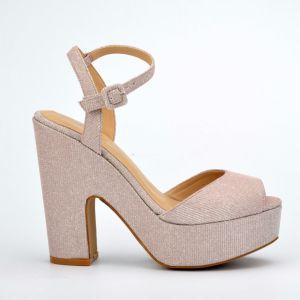 2017 Casual Lady Silk High Heels Platform Women Sandals Shoes pictures & photos