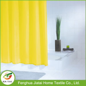 Custom Yellow Solid Color PEVA Bathroom Shower Curtain with Hooks