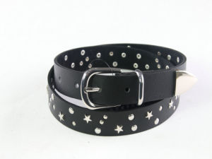 Fashion Red Rivet Lady′s Genuine Leather Belt