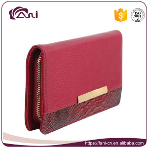 Red Color Zip Style Handmade Women Wallet with High Quality pictures & photos