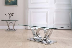 European Style 201 Stainless Steel Coffee Table Clear Glass Top pictures & photos