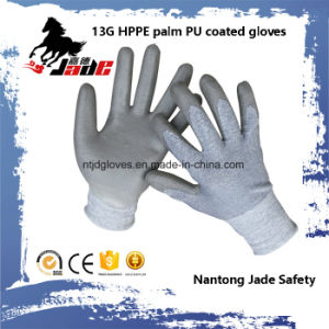 13G Gary PU Coated Safety Cut Glove Level Grade 3 and 5 pictures & photos