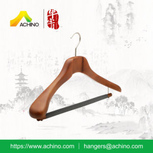 High Quality Brown Wooden Clothes Hanger with Velvet Flocked Bar (ACH208) pictures & photos