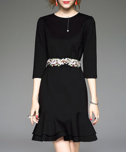 Customize The New Embroidery Dress Fishtail Skirt Little Black Dress pictures & photos
