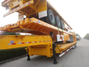Exported 3axle Lowbed Semi Trailer with Spring Ramp pictures & photos