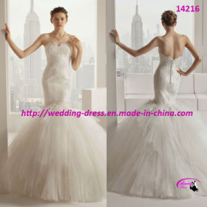 Newest 2015 Mermaid Gorgeous Wedding Dress with Button Back pictures & photos