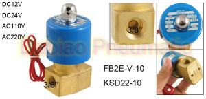 """Ksd 3/8"""" Electric Solenoid Valve 2/2 Way 12-Volt FKM/Viton Air, Water, Gas, Fuel DC24V, AC110V or AC220V as Option pictures & photos"""