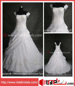 A-Line Organza Lace Appliques Plus Size Wedding Gown Bridal Dresses (AS2033)