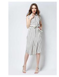 Ladies New Design High Quality Round Collar Sleeveless Long Dress with Stripe Chiffon Fabric pictures & photos
