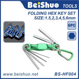 Colorful 6-Piece Metal Folding Hex Key Set pictures & photos