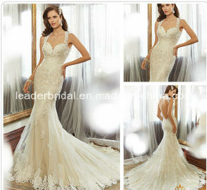 Champagne Wedding Dress Custom Mermaid Lace Backless Bridal Gown (H13105) pictures & photos