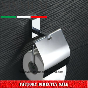 Long Sqaure Shape Chrome Toilet Paper Holder with Cover pictures & photos
