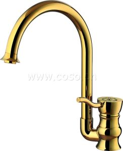 Gold Color Brass Kitchen Sink Faucet Mixer (DG1013) pictures & photos