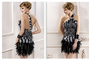 Stunning Backless One-Shoulder Lace Column Chiffon Evening Cocktail Prom Dresses (GK 09516)
