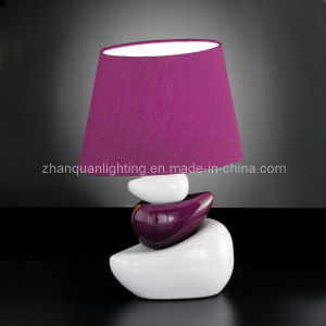 Purple Lamp Shade with Ceramic Body Nightstand Lamp (T169)