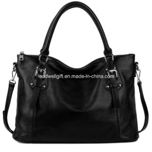 Women′s Vintage Style Soft Genuine Leather Tote Large Shoulder Handbag pictures & photos
