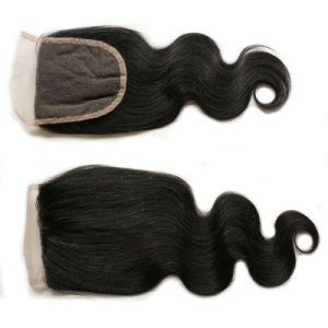 Human Hair Lace Closure Brazilian Virgin Hair Body Wave Lace Frontal Closure Brazilian Body Wave Lace Closure pictures & photos