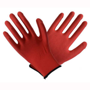 Red 13t Latex Coated Labor Protective Safety Work Gloves pictures & photos