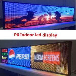 P6 Full-Colour 2145X415mm RJ45 and USB Programmable Rolling Information P6 Indoor LED Display Screen pictures & photos